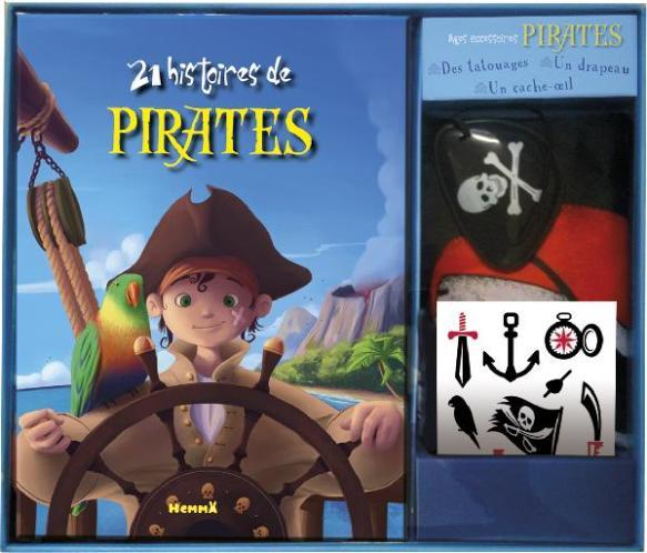 Coffret avec le livre 21 histoires de Pirates, un cache oeil, des tatouages et un drapeau pirate !